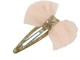 klikklak speldje 4,5 cm met zalmroze strik en glitters