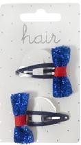 klikklak speldje 4 cm met blauwe glitter strik