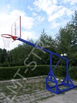 Стойка для уличного баскетбола складная в комплекте с фанерным щитом, простым кольцом и сеткой .