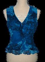 INC 100% zijde topje, top, blauw, Mt. 8 / 38