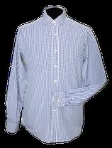 PAUW geruit dubbel manchet overhemd, blauw-wit, Mt. 41