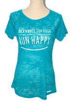 BROOKS RUNHAPPY  shirtje, blauw-aqua, Mt. M