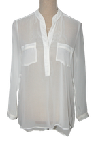 EXPRESSO semi-transparante blouse-top, topje, wit, Mt. 36