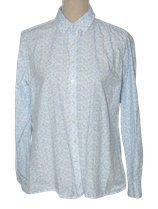 MILANO ITALY blouse, flowers, wit-blauw, Mt. 42