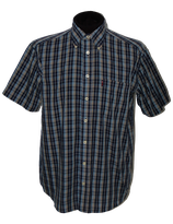 PAUL STUART geruit overhemd, korte mouw, blauw, Mt. M