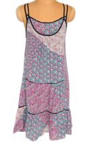 SANDRO PARIS 100% zijde jurkje, jurk, roze/groen, Mt. S
