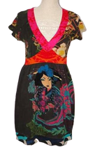 DESIGUAL  jurk, asian print, Mt. XL