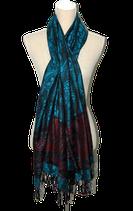 PASHMINA woven shawl,  aqua-blauw