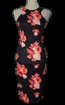 H&M jurkje, jurk, flowers, zwart/roze, Mt. XS