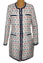 RIVER WOODS bohemian mantel wit/blauw/rood, Mt. M