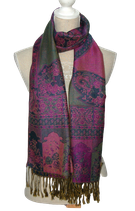PASHMINA SILK woven shawl,  purple
