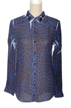 GUESS blouse, getailleerd, transparant, blauw, Mt. XS