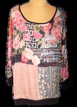 GEISHA topje, blouse-top, top, flowers, Mt. XXL