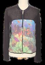 MARC CAIN jasje,  cardigan met rits, zwart, Mt. 42 (N5)