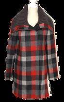 PENNY BLACK geruite wollen mantel, rood - grijs - zwart, Mt. 36