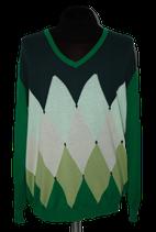 BALLANTYNE v-neck trui, argyle patroon, groen, Mt. XXL / 60
