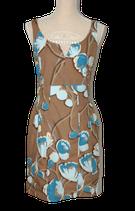 Claudia Sträter zomers jurkje, bruin-blauw, Mt. 36