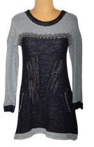 SAVE THE QUEEN jurkje, jurk, zwart/grijs, Mt. S
