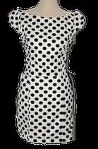 TANQS jurkje, polka-dot retro jurk, wit - zwart, Mt. M / L