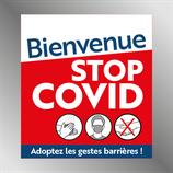 Etiquette 9 cm STOP COVID CARRÉ