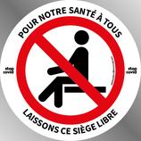 Etiquette 9 cm STOP COVID Ronde distanciation des sièges