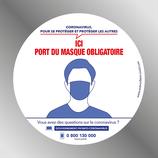 Autocollant 14,5 cm port du masque obligatoire  ROND