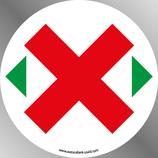 """Etiquette 9 cm STOP COVID """"croix"""" :  distanciation des sièges"""