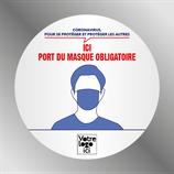 Etiquette 9 cm port du masque obligatoire  ROND