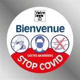 Etiquette 9 cm STOP COVID ROND