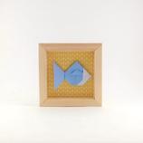 Origami Poisson Bleu Fond Motif Jaune - Format 11x11cm