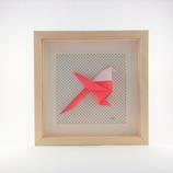 Origami Mésange Rose Fond Blanc Petit Pois Noir