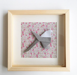 Origami mésange fond liberty - (plusieurs formats disponible)