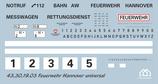 Decal Feuerwehr Hannover universal 1/43