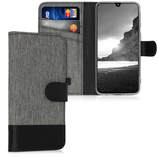 Wallet Case Samsung Galaxy A40 Canvas Grau-Schwarz
