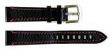 18mm rot gestepptes, hochwertiges AVIATOR Lederarmband aus Kalbsleder, schwarz mit roter Steppnaht ARM-LD06-18mm