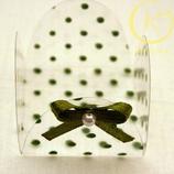 Bonbonvormpje doorzichtig met groene stip en strik