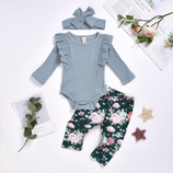 """Baby Set """"Flowers blau/rosa"""" 3 teilig"""