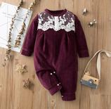 Baby Spitzen Fleece Overall weinrot