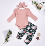 """Baby Set """"Flowers hellrosa/dunkelblau"""" 3 teilig"""