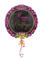 1 Musikballon - Ø 71cm – Happy Birthday schwarz pink (Glamour)