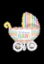 1 Folienballon - Ø 79cm - Kinderwagen Baby