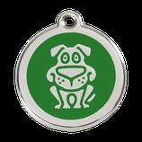 Hundemarke Hund Comic Grün