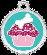 Hundemarke    Glitzer Muffin Pink