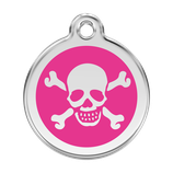 Hundemarke Totenkopf Pink