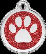 Hundemarke Glitzer Pfote Rot