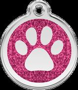Hundemarke Glitzer Pfote Pink