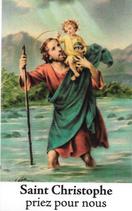 Bougie de Neuvaine Saint Christophe avec effigie et prière