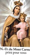Bougie de Neuvaine Notre dame du Mont Carmel avec effigie et prière