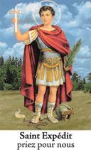 Bougie de Neuvaine Saint Expédit avec effigie et prière