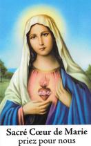 Bougie de Neuvaine Coeur Sacré de Marie avec effigie et prière